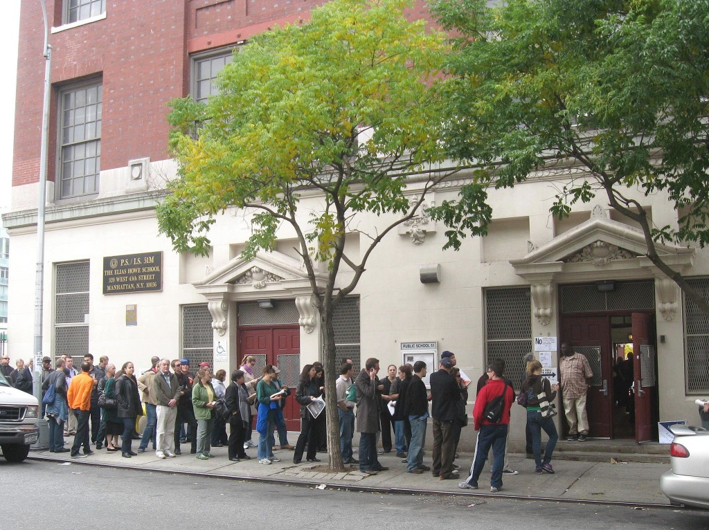 Primary Voters Waiting In Line - Voter Fraud By Waiting ?