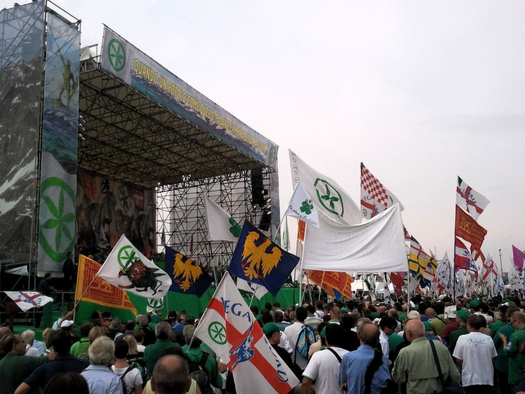 Far Right Rise in Europe - Lega Nord Italy Rally