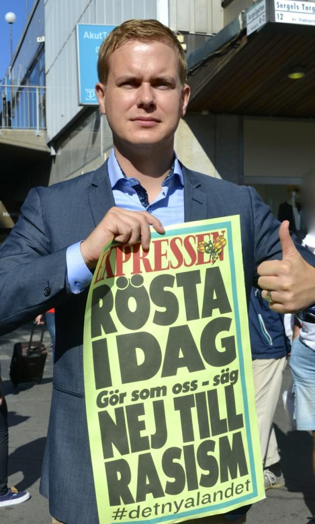 No To Racism - Newspaper Headline i Swedish Election Campaign
