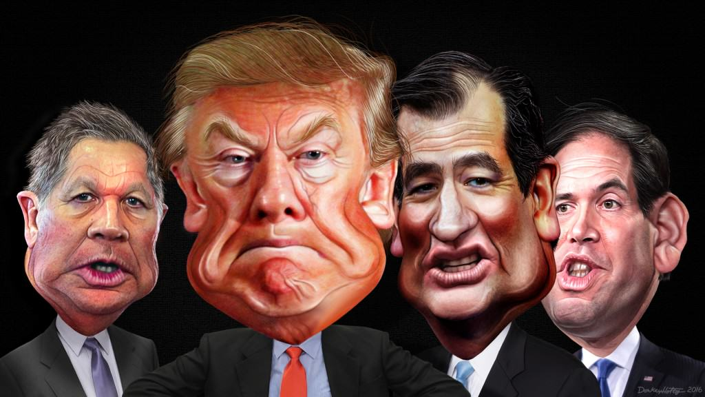 Republican Primary Final Four 2016 Caricature