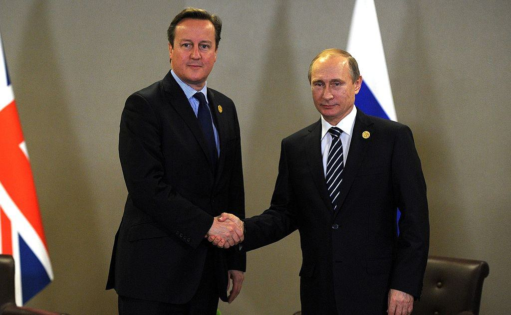 Vladimir Putin and David Cameron in Panama Papers Leak