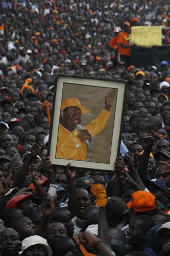 Raila Odinga Supporters marching. Kenyan politics are set for another clash between Raila and Uhuru Kenyatta