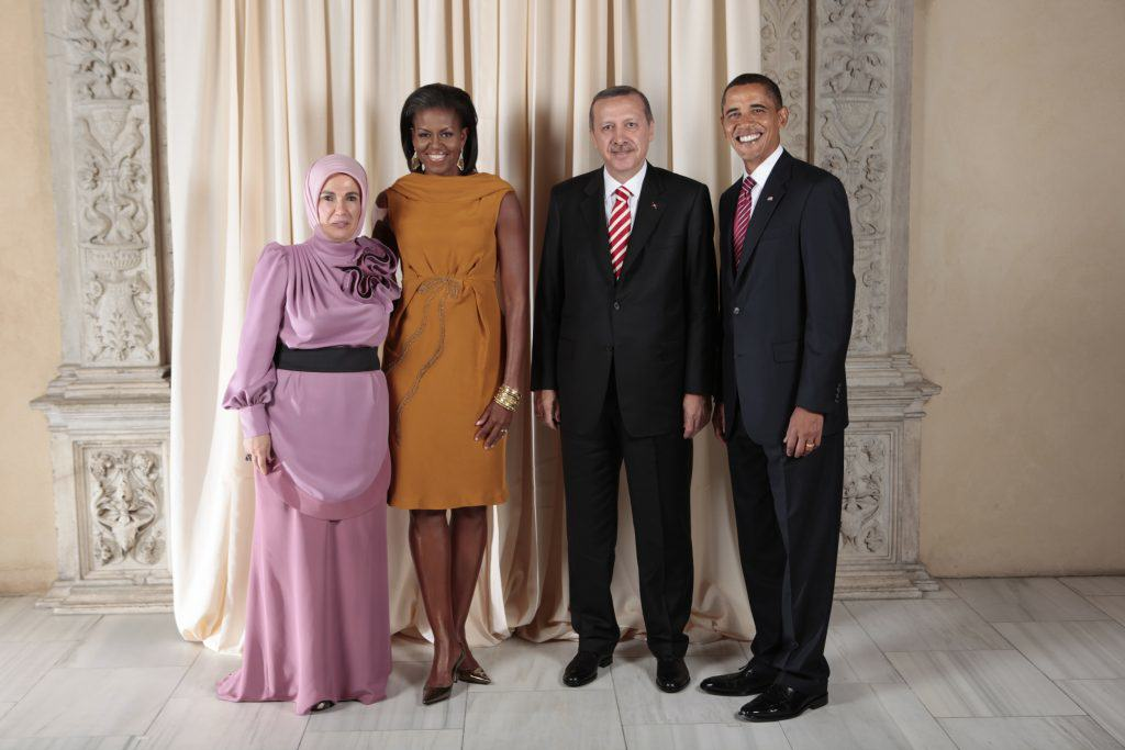 President Barack Obama and First Lady Michelle Obama pose for a photo during a reception at the Metropolitan Museum in New York with, H.E. Recep Tayyip Erdogan Prime Minister of the Republic of Turkey and his wife, Mrs. Erdogan